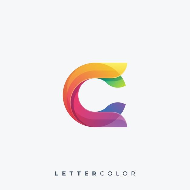 Lettera logo colorato modello vettoriale Vettore Premium