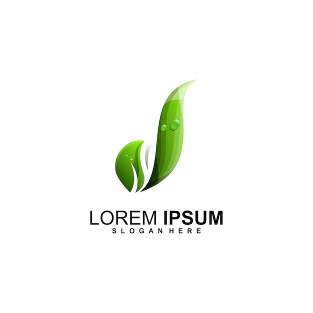 Marchio della lettera d foglia Vettore Premium