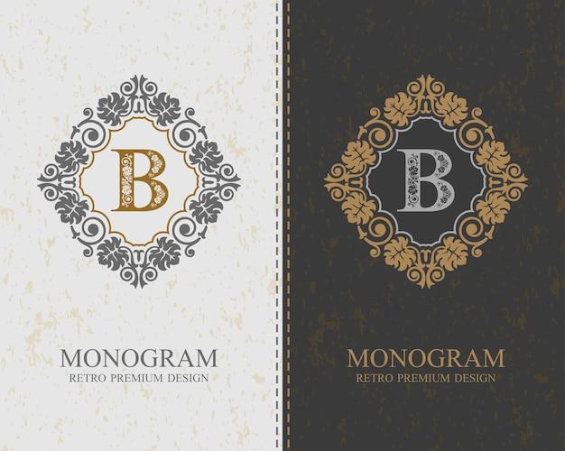 Modello di lettera emblema b, elementi di design del monogramma, modello grazioso calligrafico. Vettore Premium
