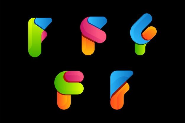 Lettera f colorato logo vettoriale Vettore Premium