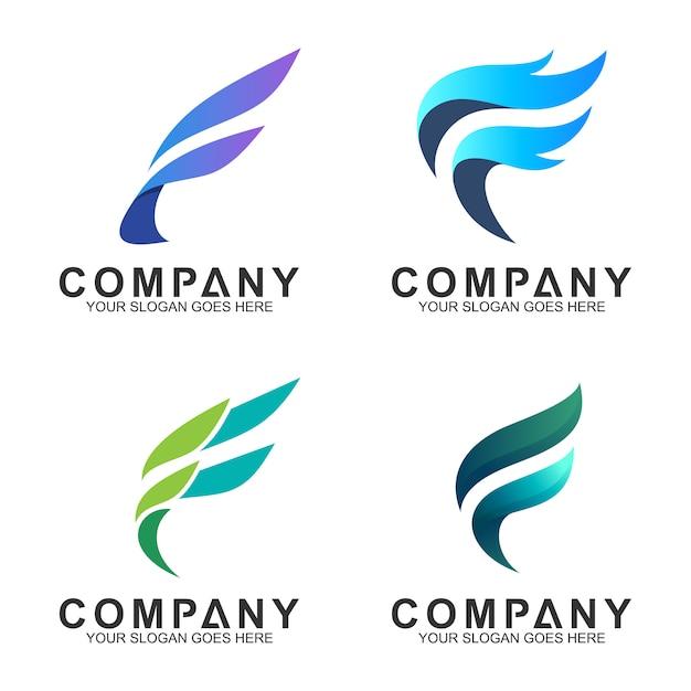 Raccolta del logo della lettera f. Vettore Premium