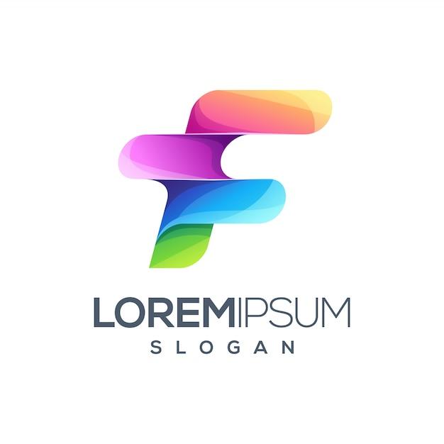 Logo design della lettera f. Vettore Premium