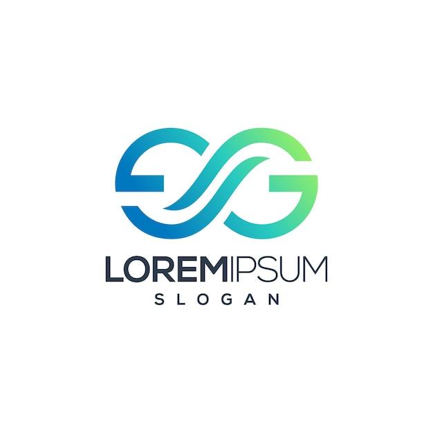 Modello di logo di concetto creativo di infinito lettera g Vettore Premium