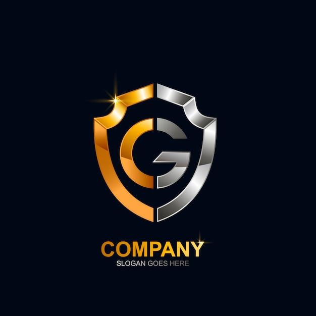 Disegno di marchio scudo lettera g Vettore Premium