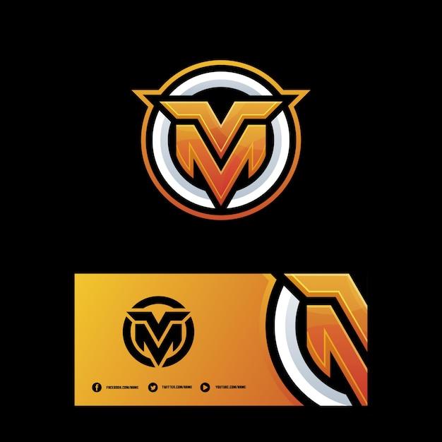 Modello di vettore di illustrazione di lettera mv Vettore Premium