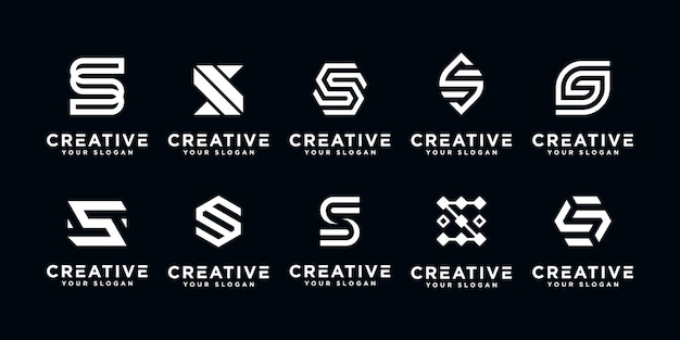 Modello di disegno di lettera s logo iniziale icona. Vettore Premium