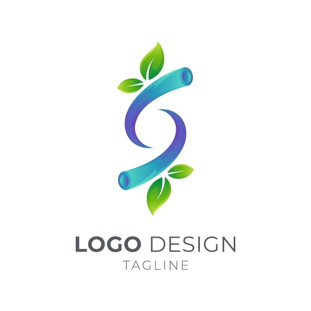 Lettera s con rami di foglie logo concept Vettore Premium