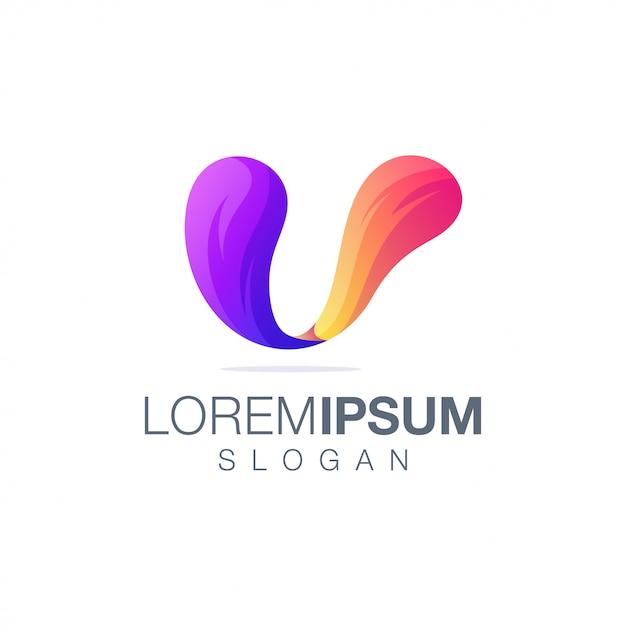 Modello di logo di colore sfumato lettera u Vettore Premium