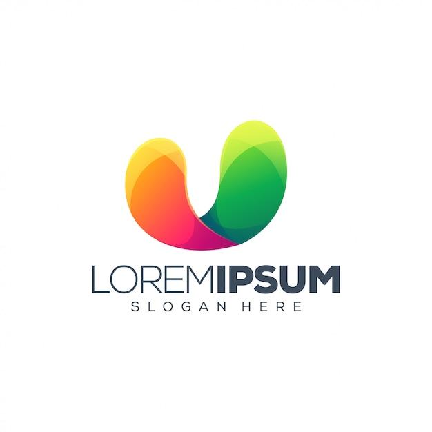 Logo design della lettera u. Vettore Premium