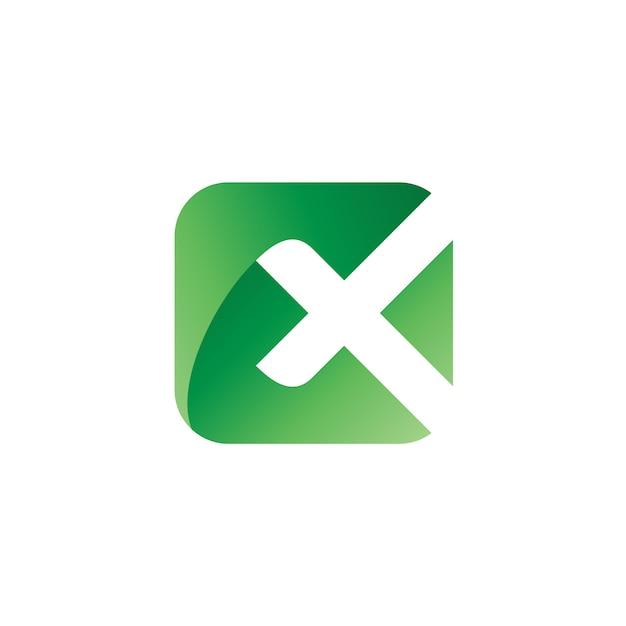 Lettera x in piazza logo vector Vettore Premium