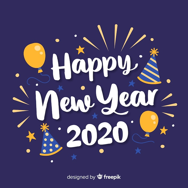 Iscrizione felice anno nuovo 2020 con palloncini Vettore Premium