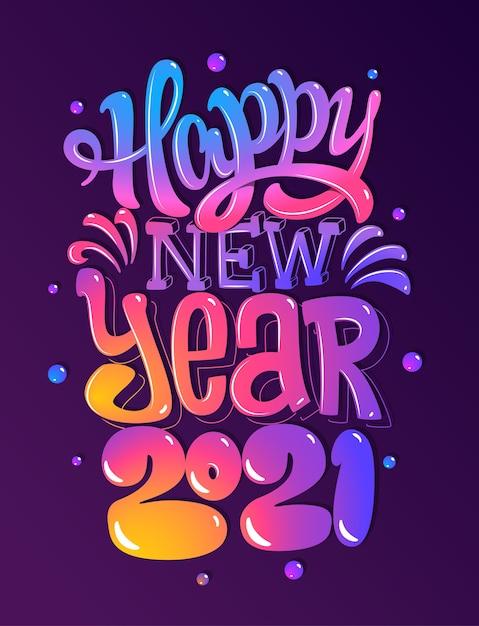 Lettering felice anno nuovo 2021 Vettore Premium