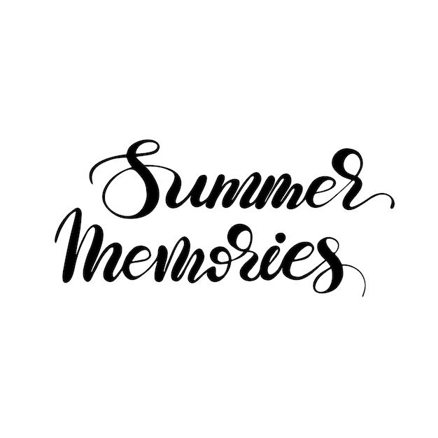 Lettering summer memories. illustrazione vettoriale Vettore Premium