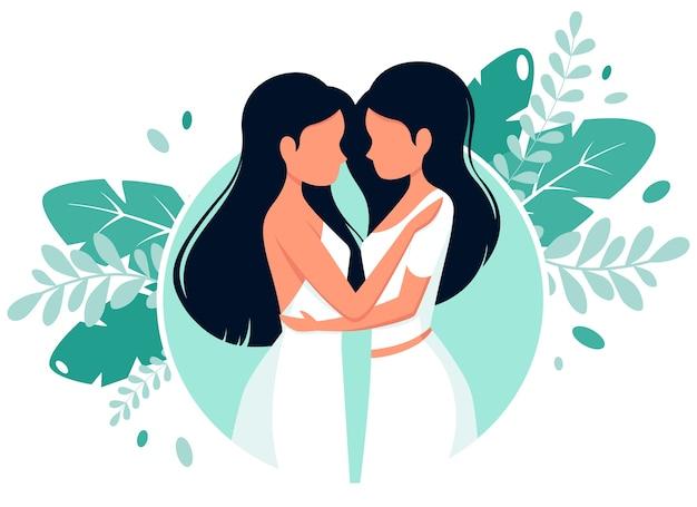 Concetto di matrimonio lgbt. coppia lesbica. Vettore Premium