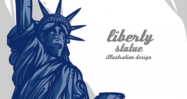Disegno dell'illustrazione della statua di libertà Vettore Premium