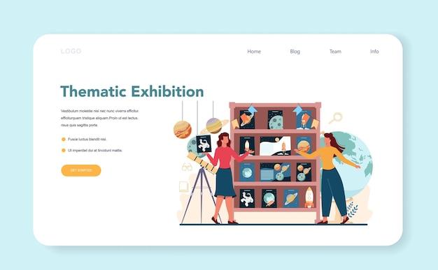 Banner web o pagina di destinazione del bibliotecario. il personale della biblioteca presta e consiglia il libro. Vettore Premium