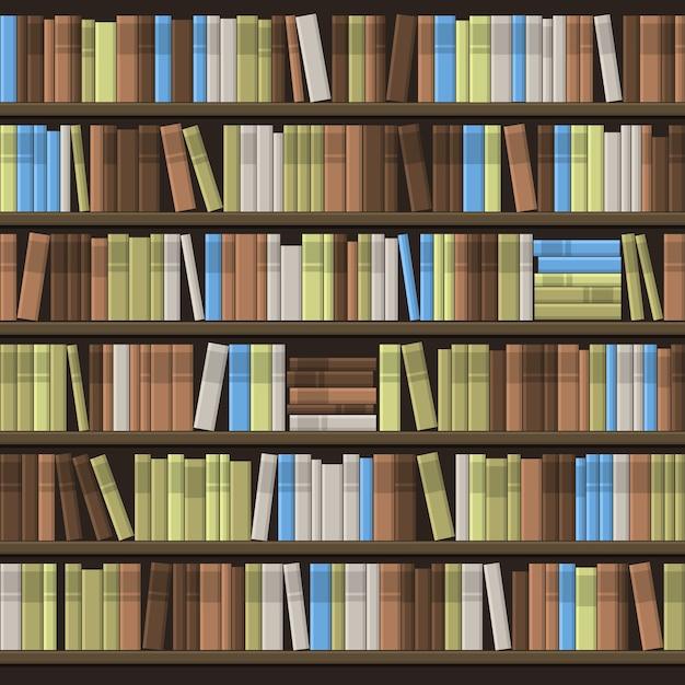 Libreria scaffale sfondo senza soluzione di continuità. Vettore Premium