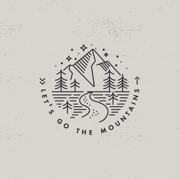 Liear icona o logo montagne Vettore Premium