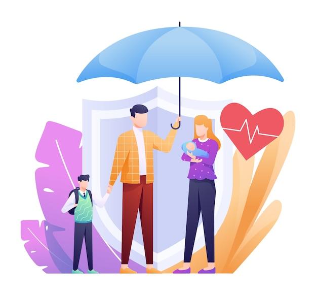 Illustrazione di assicurazione sulla vita con la famiglia sotto l'ombrello e scudo di backup come concetto. questa illustrazione può essere utilizzata per sito web, pagina di destinazione, web, app e banner. Vettore Premium