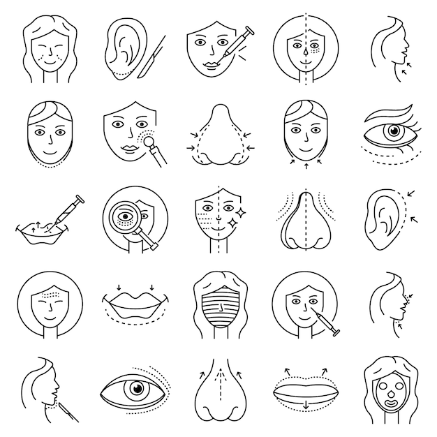 Set di icone del viso di sollevamento. set di icone di sollevamento icone vettoriali facciali Vettore Premium