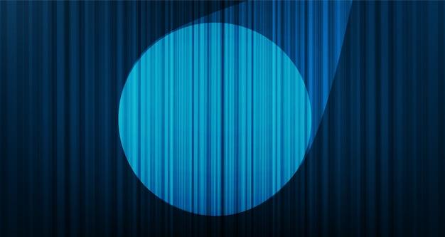 Sfondo di tenda blu chiaro con luce scenica, alta qualità e stile moderno. Vettore Premium