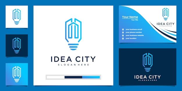 Lampadina e edificio con stile art line. costruire idea logo e biglietto da visita design Vettore Premium