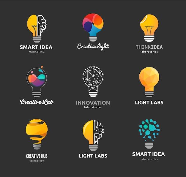 Lampadina - idea, creatività, icone di tecnologia Vettore Premium