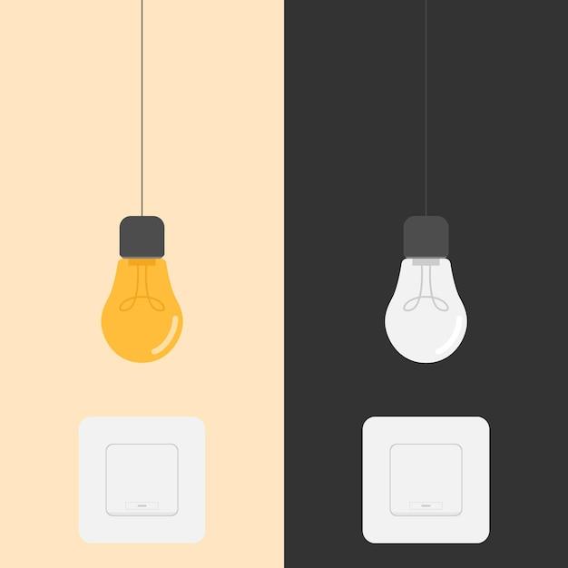 Illustrazione del design dell'interruttore di accensione e spegnimento della lampadina Vettore Premium