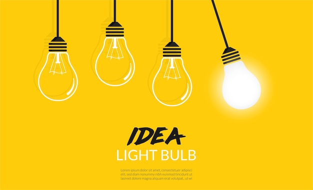 Concetto di lampadine. sfondo idea creativa Vettore Premium