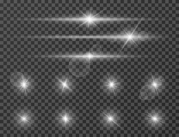 Bagliore di luce. effetto di torcia luminosa con lente ottica. flash della fotocamera scintillante. set di scintillii realistici Vettore Premium