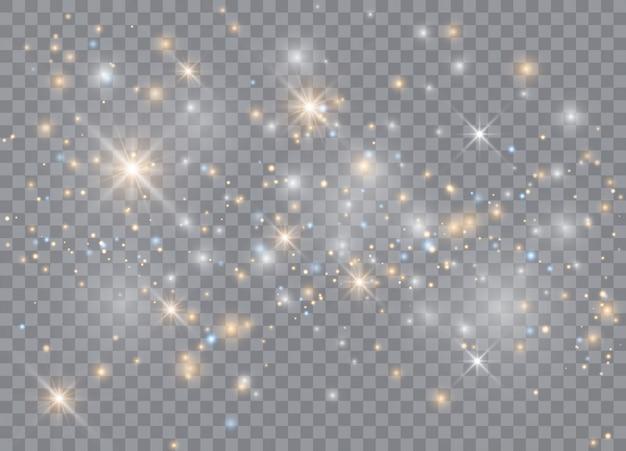 Stelle effetto bagliore di luce. brilla su sfondo trasparente. modello astratto di natale. particelle di polvere magica scintillante. Vettore Premium
