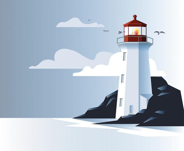 Faro nella costa rocciosa. Vettore Premium