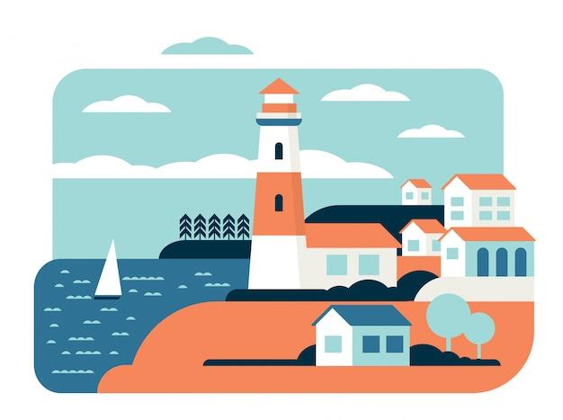Illustrazione piana di vettore del paesaggio meraviglioso dell'oceano del faro Vettore Premium