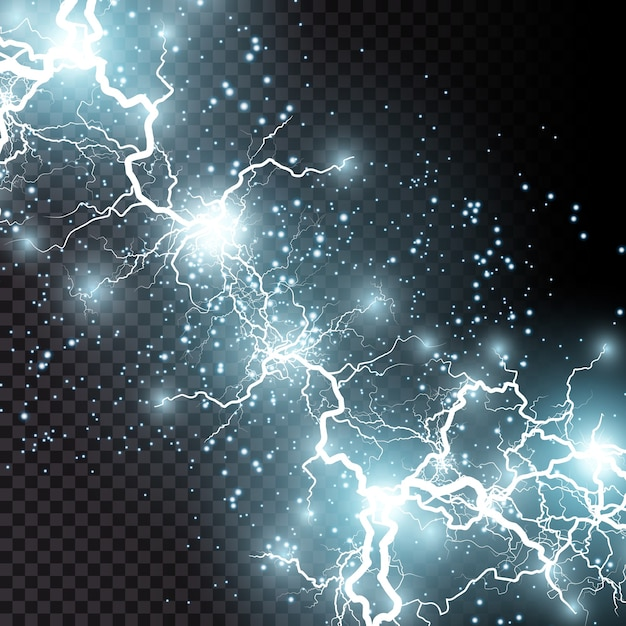 Il fulmine lampo di luce tuono scintille su uno sfondo trasparente. fulmini frattali di fuoco e ghiaccio, sfondo di potenza del plasma Vettore Premium