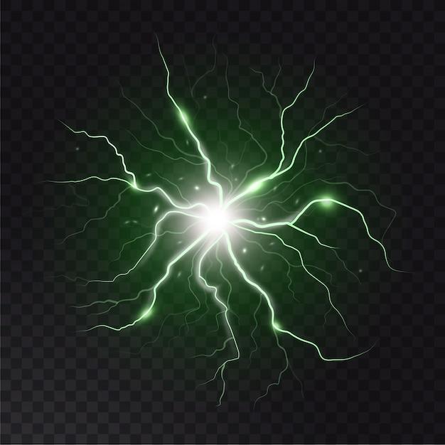 Lampo e scintilla. colpi di fulmine e scintille, energia elettrica su sfondo trasparente scuro. Vettore Premium