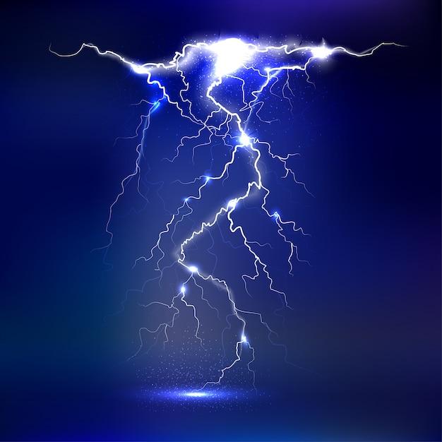Fulmine - isolato. effetti di luce luminosa Vettore Premium