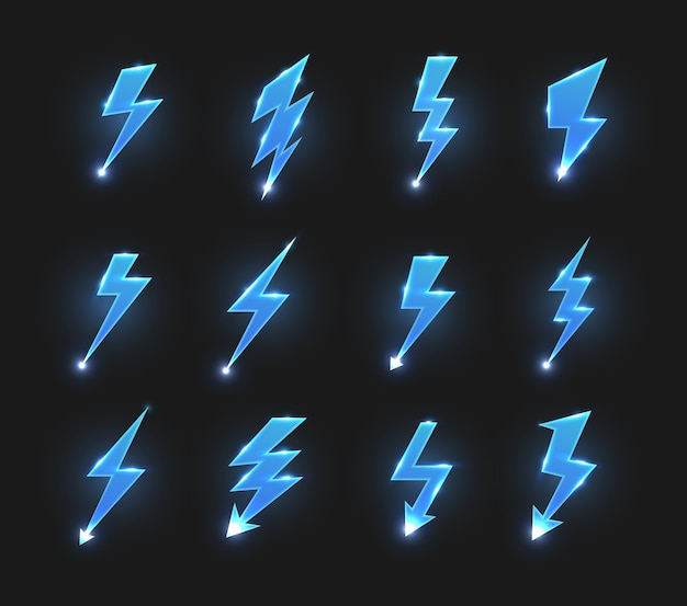 Icone dei fulmini frecce a zig-zag, sciopero elettrico o lampi con scintille luminose. Vettore Premium