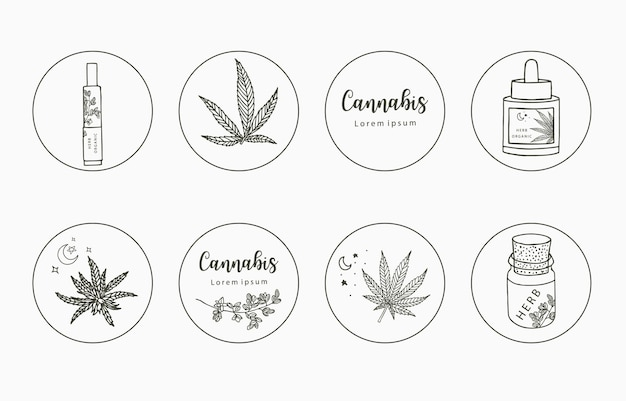 Collezione di clipart di linea con mano, cannabis, bottiglia, contagocce, stella, cerchio Vettore Premium