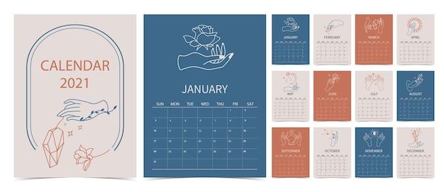 Linea calendario 2021 a mano con rosa, fiore, cristallo, sole in stile boho Vettore Premium