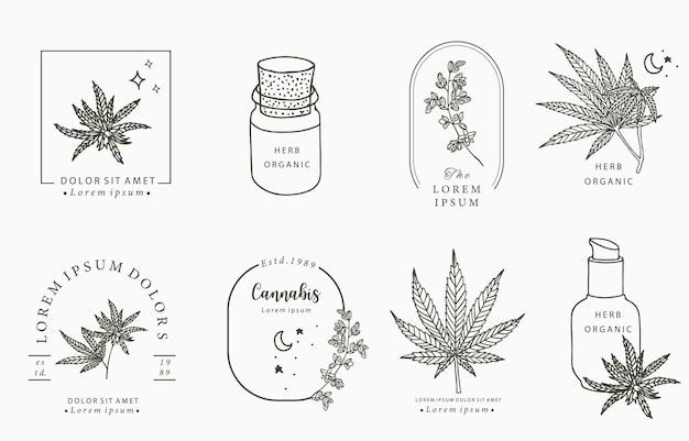 Collezione di oggetti linea, cannabis, bottiglia, contagocce, stella, forma Vettore Premium