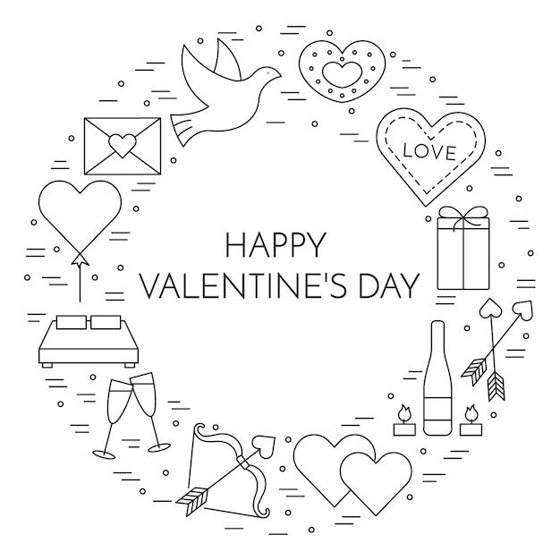 Banner di linea sottile icone per il giorno di san valentino e tema della data. Vettore Premium
