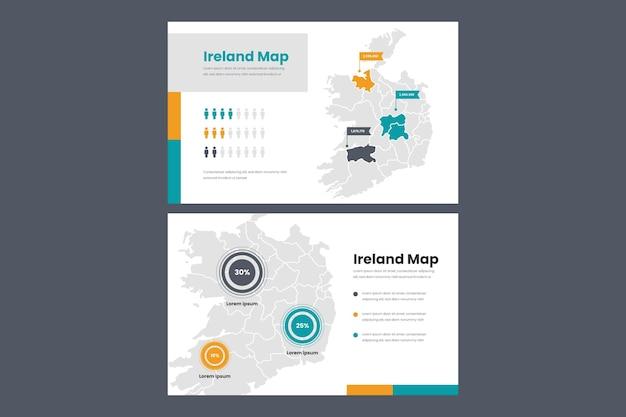 Mappa infografica lineare dell'irlanda Vettore Premium