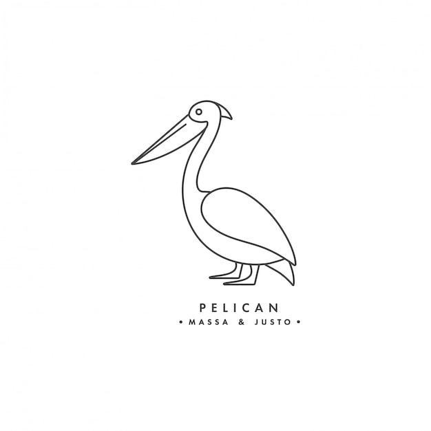 Logo lineare uccello pellicano su sfondo bianco. emblemi o distintivi del pellicano. Vettore Premium