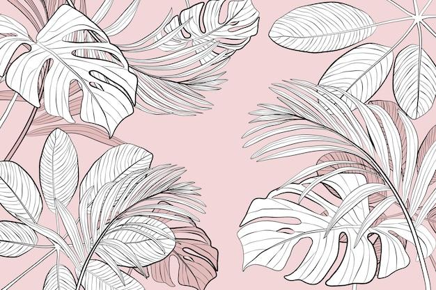Sfondo di foglie tropicali lineari Vettore Premium