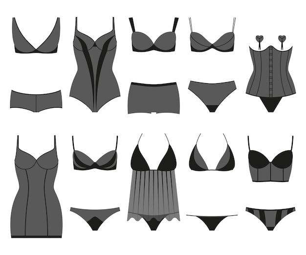 Set di lingerie. biancheria intima della donna isolata sul bianco. illustrazione colorata Vettore Premium