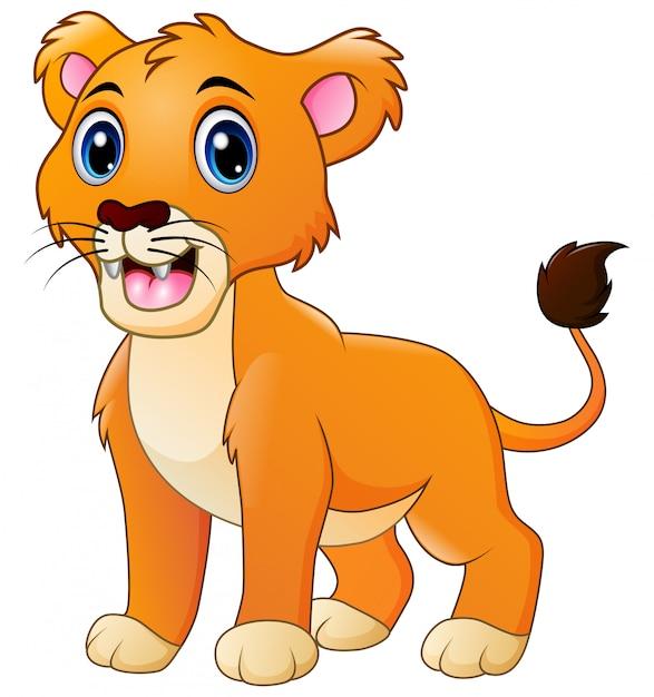 Un leone ruggente cartone animato Vettore Premium