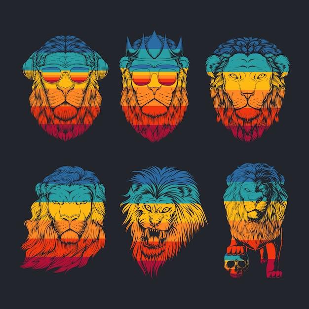 Collezione leone illustrazione retrò Vettore Premium