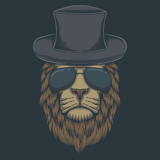 Occhiali con testa di leone Vettore Premium