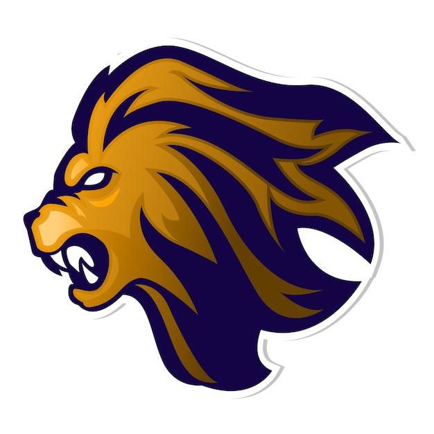 Logo della mascotte lion head Vettore Premium