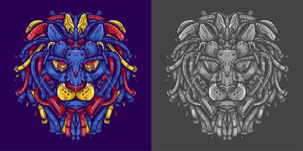 Illustrazione di robot testa di leone per maglietta Vettore Premium